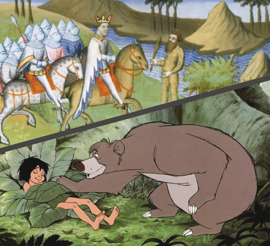 Alexandre et un homme sauvage, Le Roman d'Alexandre, BnF, fr. 2810, f. 239. Mowgli et l'ours Baloo, Le Livre de la Jungle (Walt Disney, 1967)